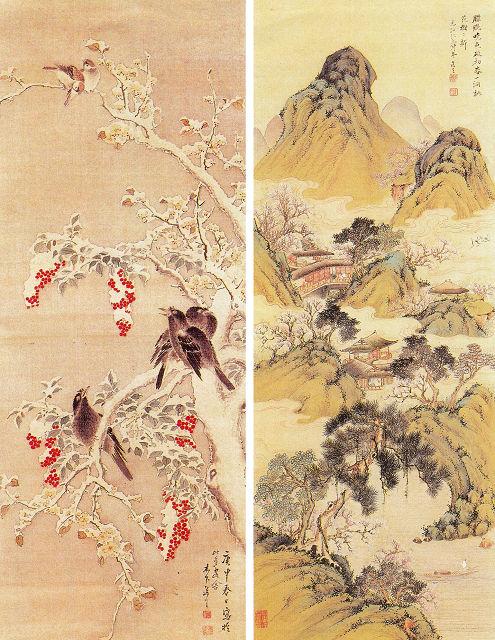 左:木下逸雲「梅花小禽雪山水図」<br> 右:木下逸雲「桃花源図」