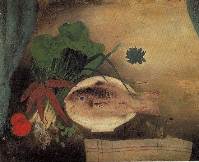 南城一夫「鯛の静物」群馬県立近代美術館蔵