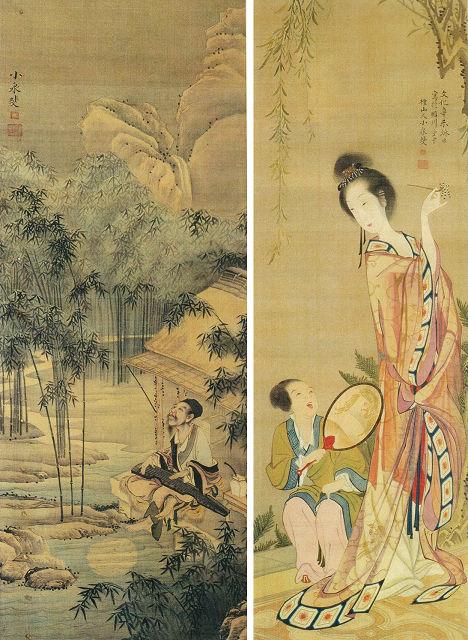 左:小泉斐「月下弾琴図」栃木県立博物館蔵 右:小泉斐「唐美人図」栃木県立博物館蔵