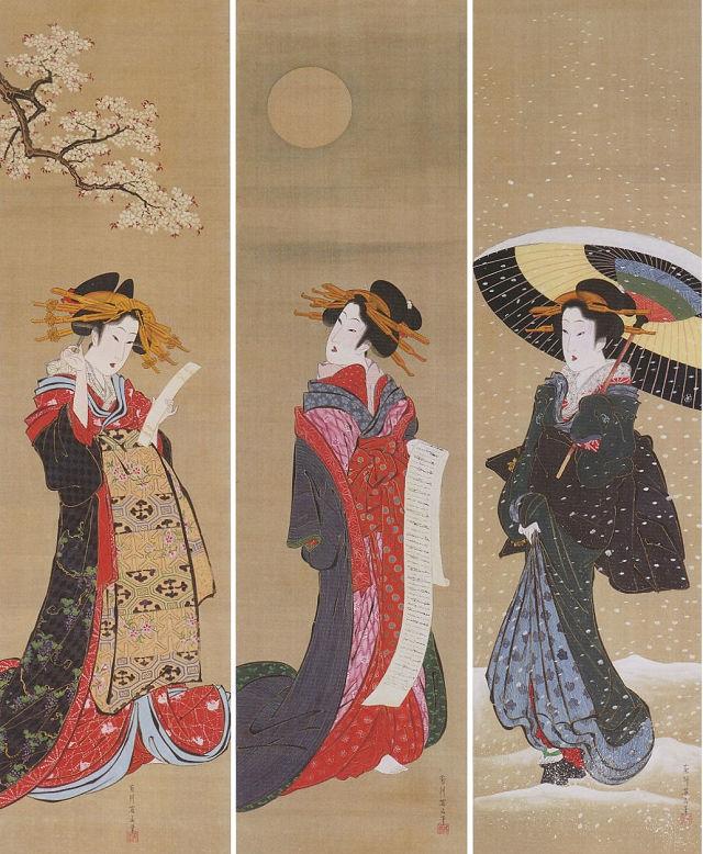 菊川英山「雪月花図」