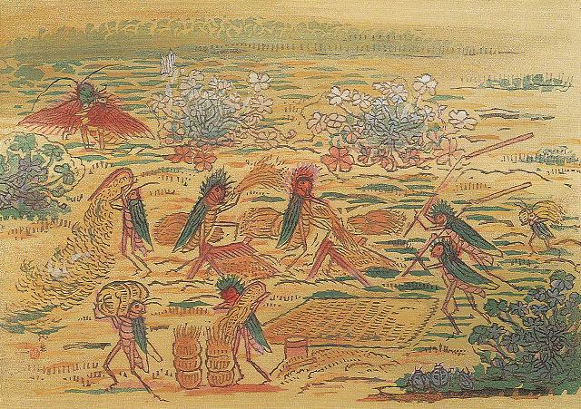 古川龍生「昆虫戯画巻平和篇 豊年万作」栃木県立美術館蔵