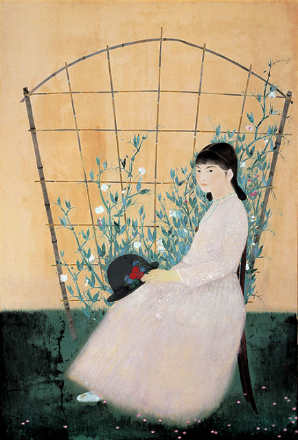 田中青坪「花による少女」熊本県立美術館蔵