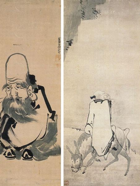 左:三谷等哲「山公倒載図」<br> 右:三谷等哲「福禄寿図」