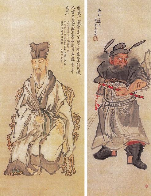 左:牧島閑雲「孔子像」 右:牧島閑雲「鍾馗之図」