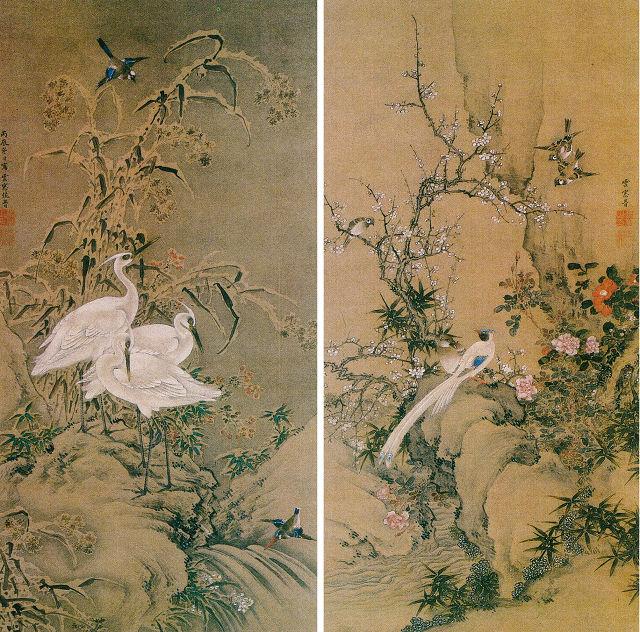 佐久間雲窓「花鳥図」(双幅)