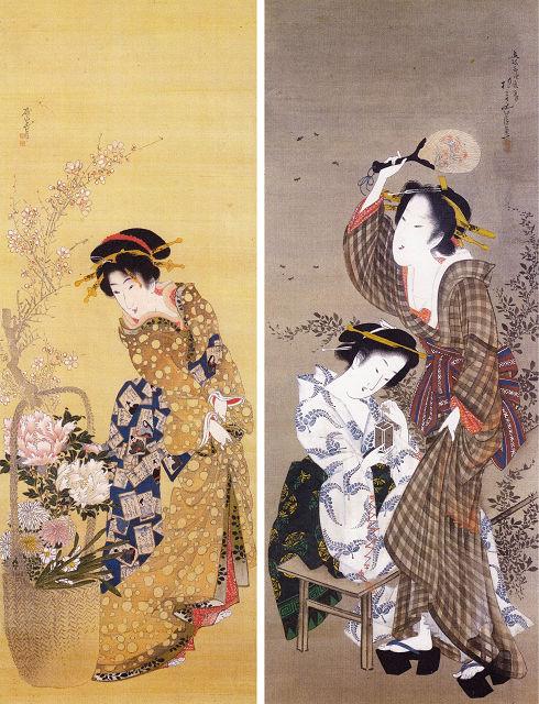 左:抱亭五清「花籠と美人図」、右:「蛍狩り二美人図」