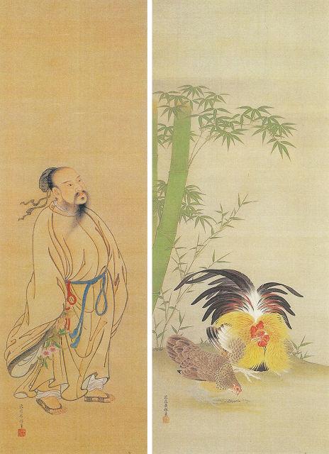 渡辺広輝「東方朔図」<br> 渡辺広輝「竹に鶏図」