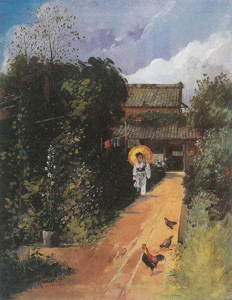 小代為重「日傘の婦人のいる風景」