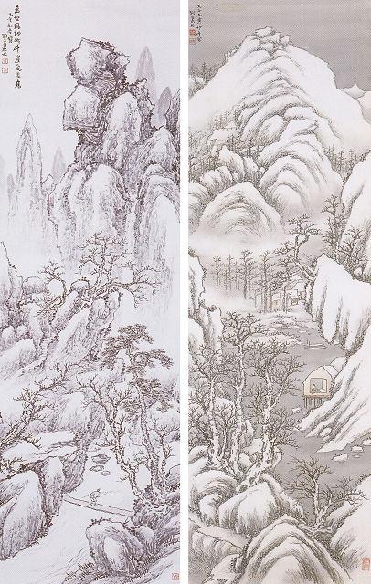 新井洞巌「秋渓漁夫図」<br> 新井洞巌「寒山晩晴」