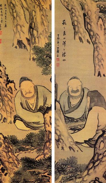 左:佐竹蓬平「伯牙弾琴図」 右:「伯牙絶弦図」