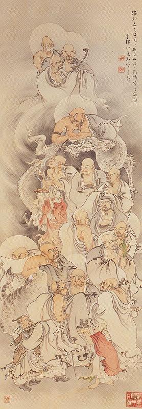 青柳琴僊「十六羅漢図」嶽林寺蔵