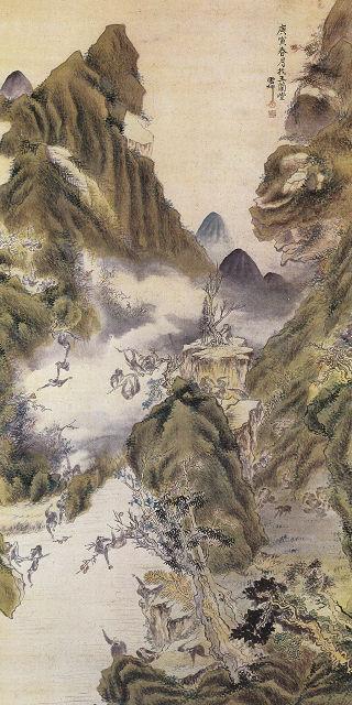長井雲坪「秋山群猿」
