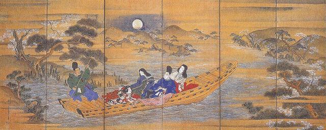 菊川英山「観桜舟遊屏風」