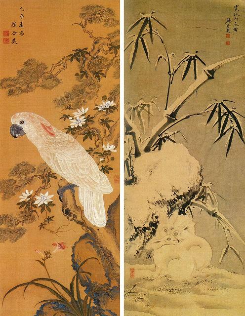 左:戸田忠翰「白鸚鵡図」 右:戸田忠翰「雪竹兎図」板橋区立美術館蔵