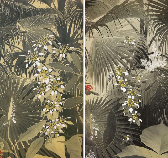 田中一村「枇榔樹の森に崑崙花」(部分)田中一村記念美術館蔵