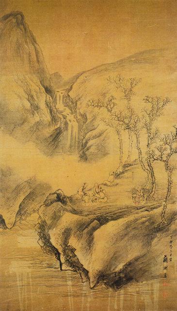 蜂谷蘭洲「清溪煎茶図」