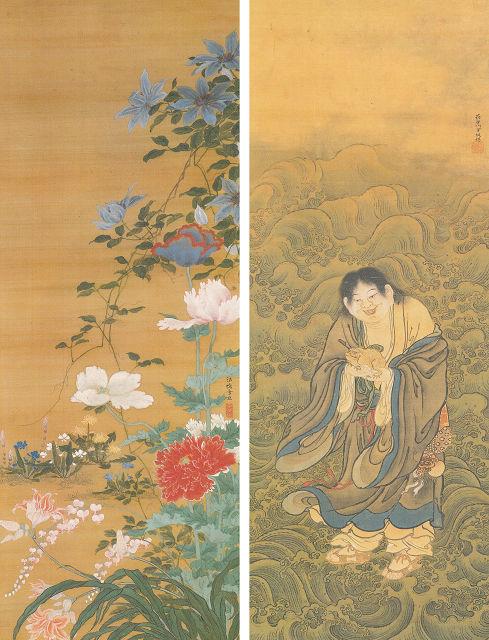 左:長谷川雪旦「草花図」<br>右:長谷川雪堤「蝦蟇仙人図」