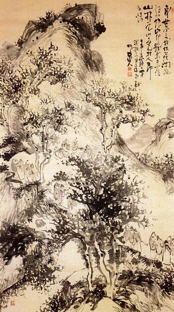 原蓬山「残楓の図」