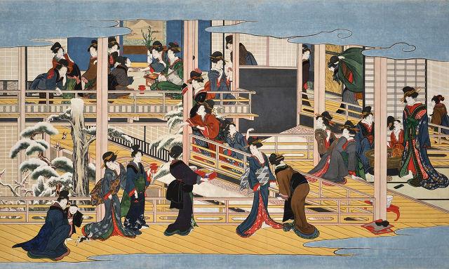 喜多川歌麿 雪月花三部作のうち「深川の雪」