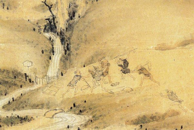千輝玉斎「豊年満作襖絵」(水争いの部分)