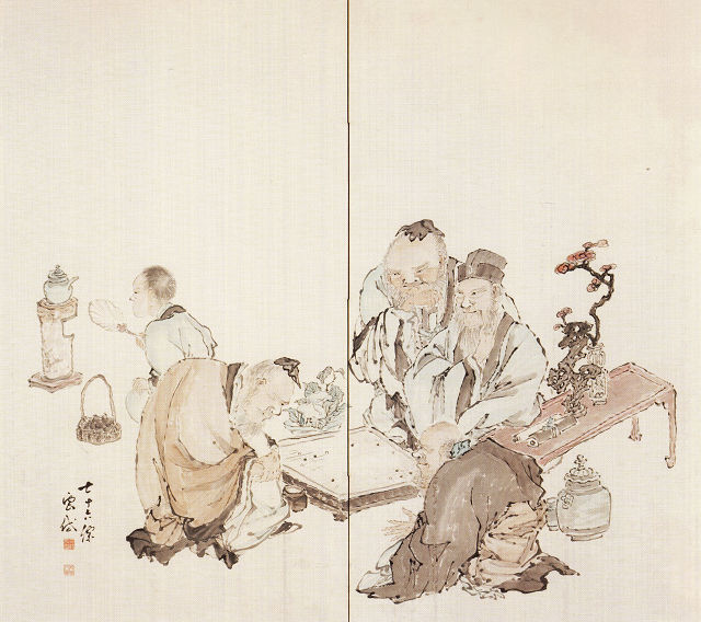 三枝雲岱「囲碁図」山梨県立美術館蔵