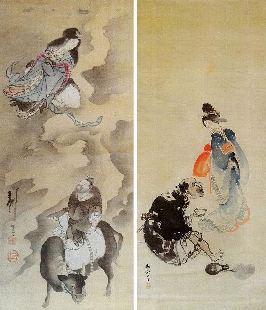 左:藤桃洲「七夕図」<br> 右:藤桃洲「美人図」