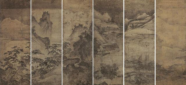 葉山朝湖「楼閣山水図屏風」佐賀県立博物館蔵