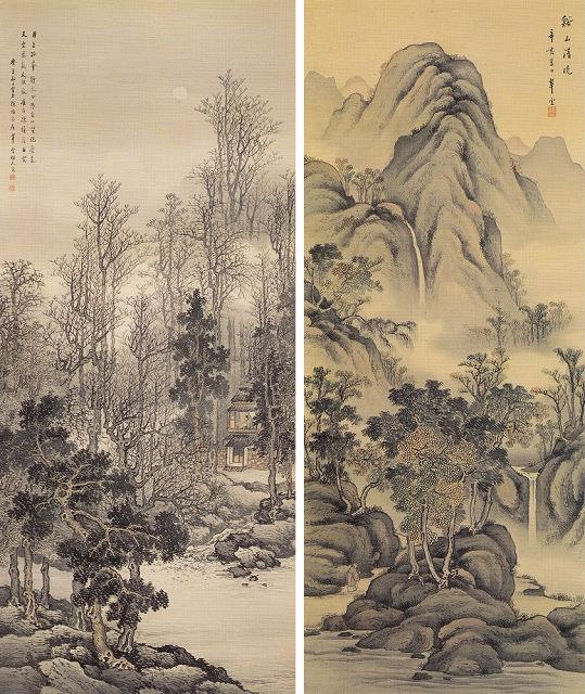 左:小室翠雲「寒林幽居」宮内庁三の丸尚蔵館蔵 右:小室翠雲「谿山清暁」
