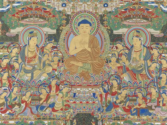 神田宗庭隆信「当麻曼荼羅図(華座段)」東京国立博物館蔵